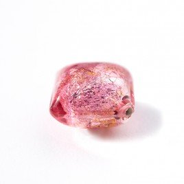 Light Rose 12x12mm Diamond Cushion Silver Foil Czech glass Lampwork Bead