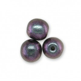 Lilac-blu two-tone metallic 6mm round glass beads - Retail system