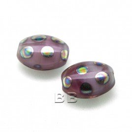 Lilac Blush Mixed Glass Peacock Beetle 7x9mm Pressed Czech Glass Bead - Retail system