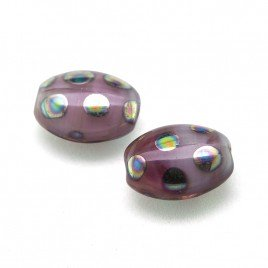 Lilac Blush Mixed Glass Peacock Beetle 7x9mm Pressed Czech Glass Bead