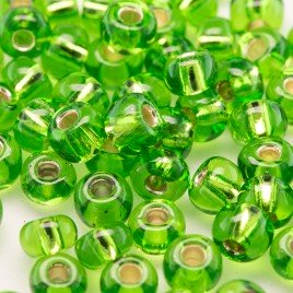 Lime silver lined size 5/0 seed beads- Retail system