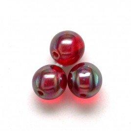 Lollipop Red 6mm round Czech glass druk beads