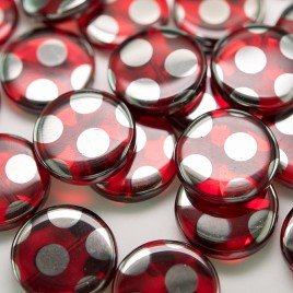 Lollipop Red Peacock Disc 17mm Pressed Czech Glass Bead