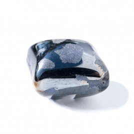 Metallic Blue 16x16mm Diamond Cushion with Hematite effect, Czech glass Lampwork Bead