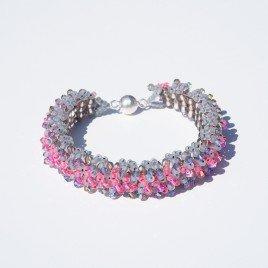 Mini Studio – Embellished Square Stitch Ruffle Pink & Grey Bracelet Kit