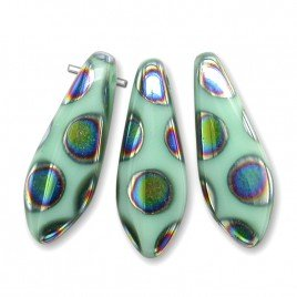 Mint glass dagger bead peacock 5x16mm  - Retail system