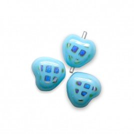 Moderate Blue Peacock Heart 6mm Pressed Czech Glass Bead - Retail system
