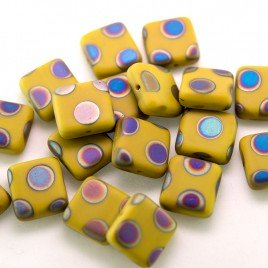 Ochre Peacock Matt 10x10mm Square glass bead