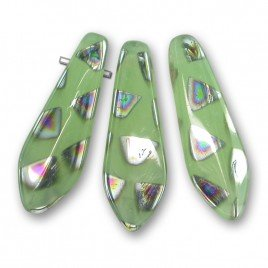 Opal Pale Green Peacock 5x16mm dagger bead