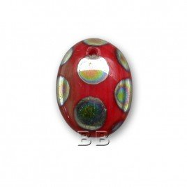 Opaque Red Peacock 12x9mm pressed glass beetle bead