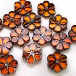 Orange Sun Florice 15mm Table Cut Czech Glass Bead