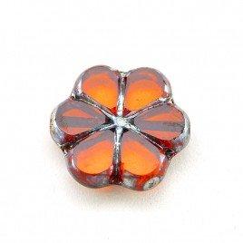 Orange Sun Florice 15mm Table Cut Czech Glass Bead