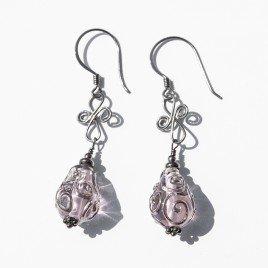 Pink artisan glass earrings 12x8mm in .925 silver (black finish)
