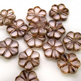 Pink Lotus Florice 15mm Table Cut Czech Glass Bead