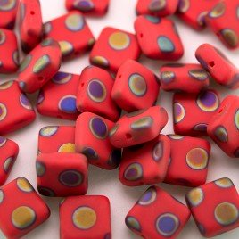 Poppy Red Peacock Matt 10x10mm Square Czech Glass Bead