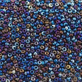 Preciosa Czech glass charlotte seed bead, size 15/0 Starlight Titan coated Metallic