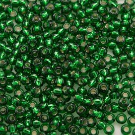 Preciosa Czech glass seed bead 11/0 Dark Green or Emerald silver lined