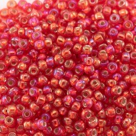 Preciosa Czech glass seed bead 11/0 Light Red silver lined & rainbow