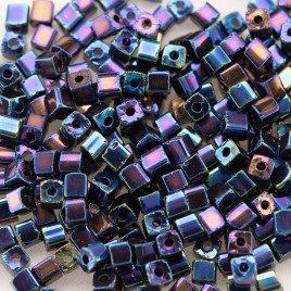 Preciosa Czech glass seed bead 2x2mm Blue Iris metallic cube