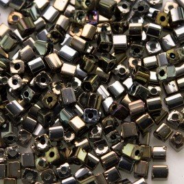 Preciosa Czech glass seed bead 2x2mm Bronze Iris metallic cube
