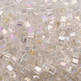 Preciosa Czech glass seed bead 2x2mm Clear Iris metallic cube