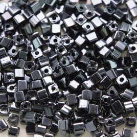 Preciosa Czech glass seed bead 2x2mm Hematite metallic cube