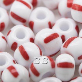 Preciosa Czech glass seed bead 32/0 Opaque White with Red Stripe