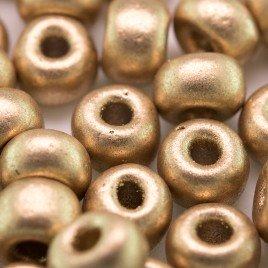 Preciosa Czech glass seed bead 32/0 Brushed Gold Metallic coated