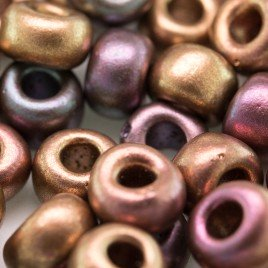 Preciosa Czech glass seed bead 32/0 Brushed Mixed Copper Metallic coated