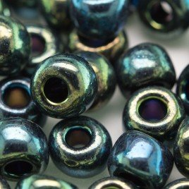 Preciosa Czech glass seed bead 32/0 Green Iris Metallic coated