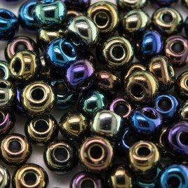 Preciosa Czech glass seed bead 5/0 Black Iris iridescent metallic coated