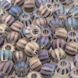 Preciosa Czech glass seed bead 5/0 Clear glass seed bead with Dark Stripes Matt and Rainbow