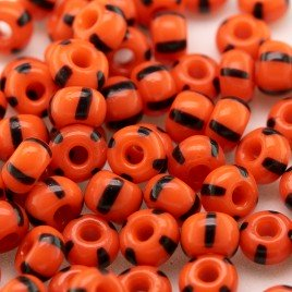 Preciosa Czech glass seed bead 5/0 Opaque Red Orange with Black Stripe
