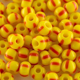 Preciosa Czech glass seed bead 5/0 Opaque yellow with Red Stripe