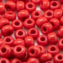Preciosa Czech glass seed bead 5/0 Poppy Red opaque