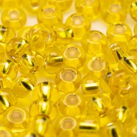 Preciosa Czech glass seed bead 5/0 Yellow glass silver lined
