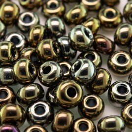 Preciosa Czech glass seed bead 5/0 Bronze Iris iridescent metallic coated