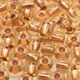 Preciosa Czech glass seed bead 5/0 Light Topaz glass Copper Lined
