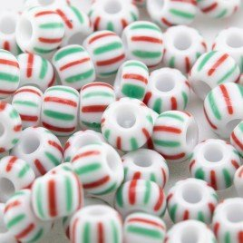 Preciosa Czech glass seed bead 5/0 Opaque White with Green and Red pinstripe