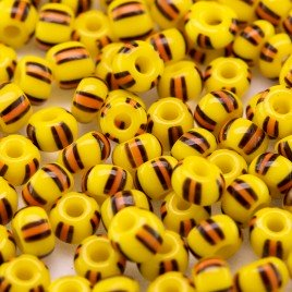 Preciosa Czech glass seed bead 5/0 Opaque Yellow with Black bordered Orange Stripe