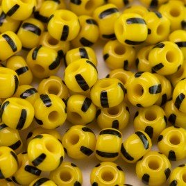 Preciosa Czech glass seed bead 5/0 Opaque yellow with Black Stripe