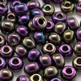 Preciosa Czech glass seed bead 5/0 Purple Iris iridescent metallic coated