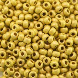Preciosa Czech glass seed bead 9/0 Dusky Citron Matt Metallic coated, 2.5mm