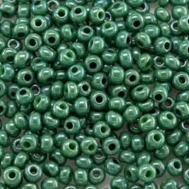 Preciosa Czech glass seed bead 9/0 Green Colour Lustered