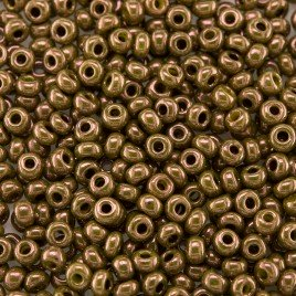 Preciosa Czech glass seed bead 9/0 Olivine/Bronze Colour Lustered