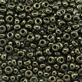 Preciosa Czech glass seed bead 9/0 Forest Green Metallic coating