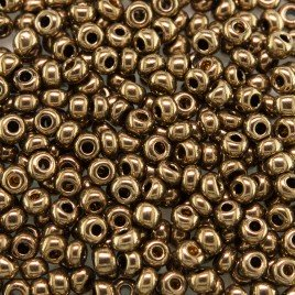 Preciosa Czech glass seed bead 9/0 Golden Bronze Metallic coated