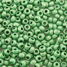Preciosa Czech glass seed bead 9/0 Green Matt Metallic coated, 2.5mm