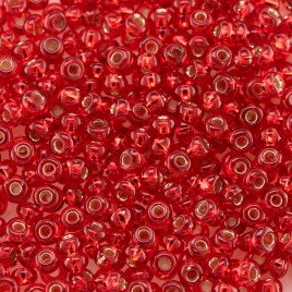 Preciosa Czech glass seed bead 9/0 Light Red glass silver lined