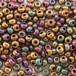 Preciosa Czech glass seed bead 9/0 Mixed Copper Metallic coated